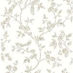 2813-24974 Kitchen Ray Taupe Bird Trail by Advantage Wallpaper