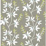 NUS3548 Taupe & Lime Fairfield Flowers Peel and Stick Wallpaper