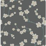2764-24323 Sakura Dark Grey Floral Mistral by A-Street Prints