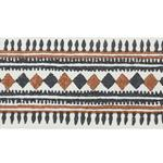 77333 Toula Hand Blocked Linen Tape Black and Brown by Schumacher Fabric
