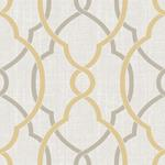 NU1695 Sausalito Taupe/Yellow Graphics Peel and Stick Wallpaper