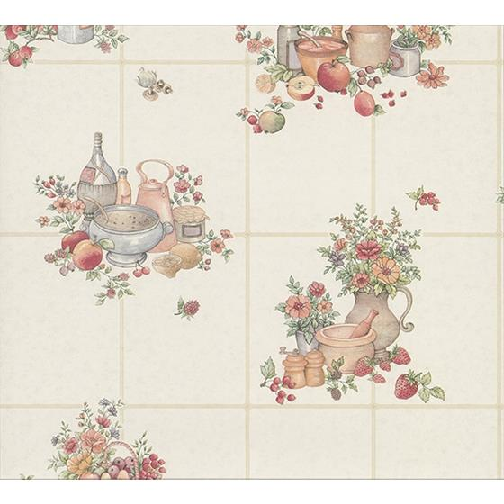 2813-24992 Kitchen Giada Multicolor Fruit Basket Tile by Advantage Wallpaper