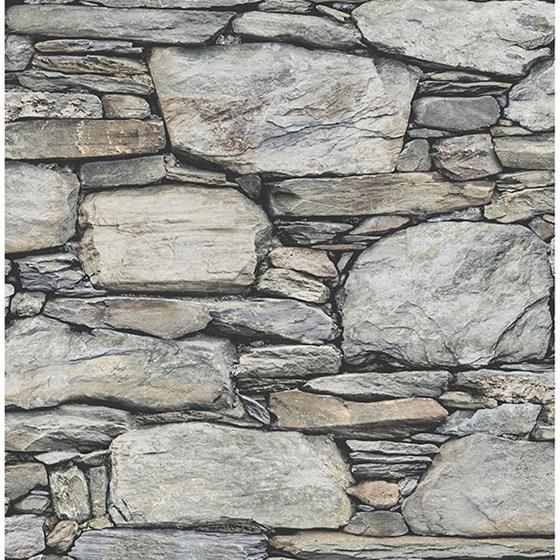 2767-22304 Cobble Light Grey Stone Wall Techniques and Finishes III by Brewster