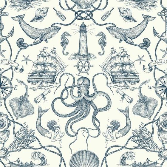 HO3361 Deep Sea Toile, Tailored by York Wallpaper