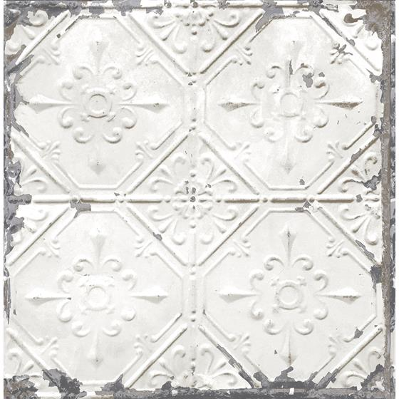 2922-22305 Trilogy Donahue White Tin Ceiling by A-Street Prints Wallpaper