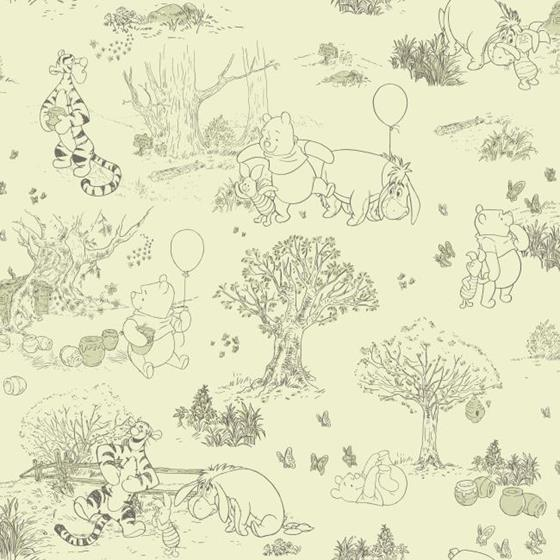 DK5842 Pooh and Friends Toile by York Wallcovering