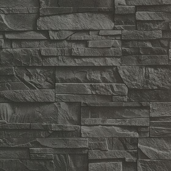 2774-475036 Stones and Woods Collegiate Charcoal Stacked Slate by Advantage Wallpaper