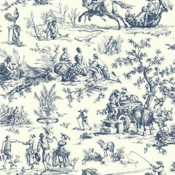AF2000 Ashford Toiles, Seasons Toile  color navy Scenic by Ashford House Wallpaper