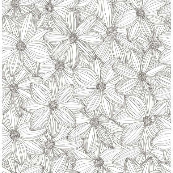 SLS3526 Taupe Cascade Self Adhesive Flowers Peel and Stick Wallpaper