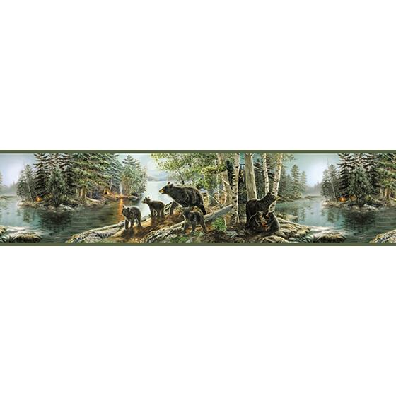 3118-01531B Birch and Sparrow Bear Necessities Mountain Lake by Chesapeake Wallpaper