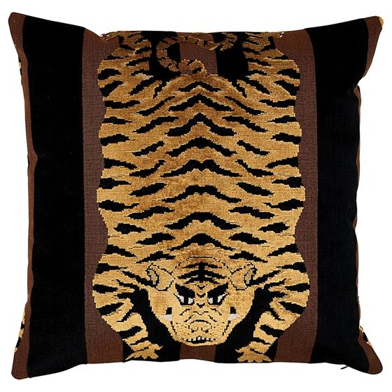 """So7723204 Jokhang Tiger Velvet 18"""" Pillow Brown and Black By Schumacher Furniture and Accessories 1"""