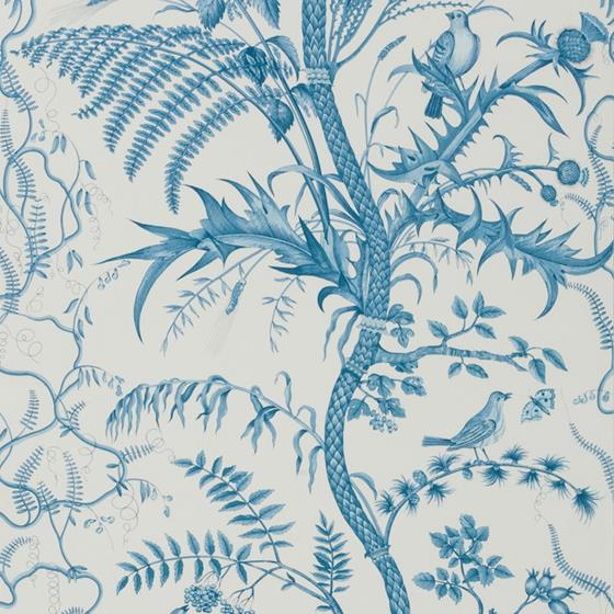 BR-69518.222 Bird And Thistle Blue Brunschwig and Fils