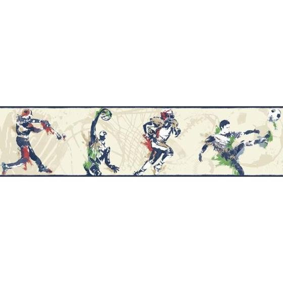 BS5306BD Sports Players Border by York Wallcoverings