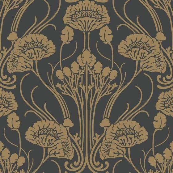 CA1564 Deco, Nouveau Damask, Blacks Botanical Anto