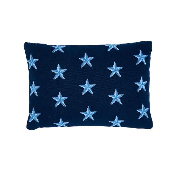So7742111 Star Epingle Pillow Blue By Schumacher Furniture and Accessories 1