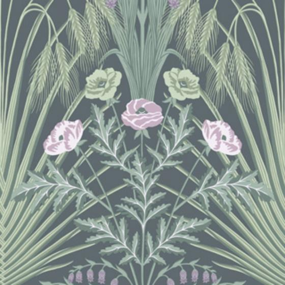 115-3009 Bluebell, Sage On Charcoal Print by Cole