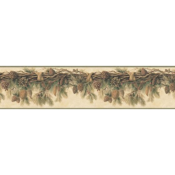 3118-01391B Birch and Sparrow Pinecone Forest Pine by Chesapeake Wallpaper