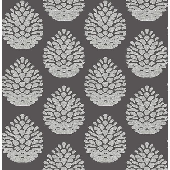 3118-25093 Birch and Sparrow Totem Pinecone by Chesapeake Wallpaper