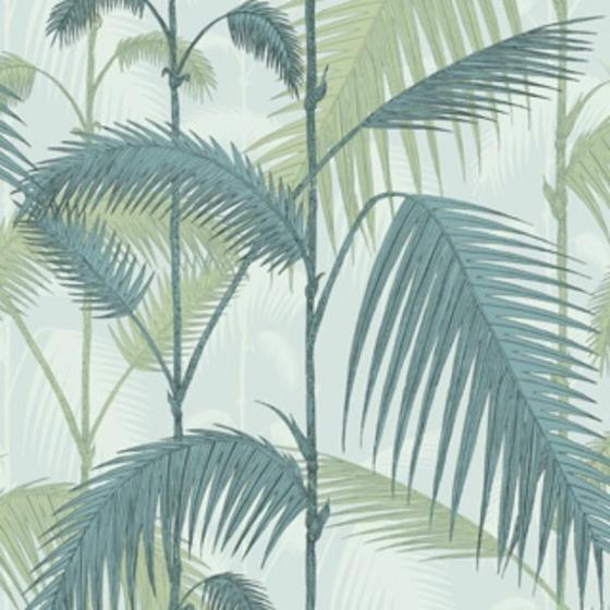 112/1001 Palm Jungle Print Room Blue/Mint Cole and Son