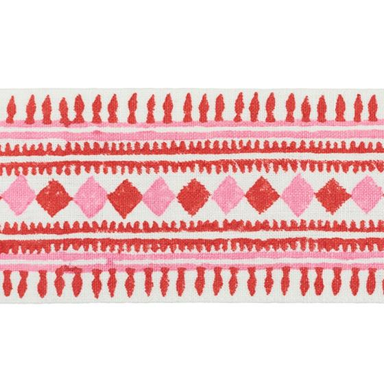 77331 Toula Hand Blocked Linen Tape Red and Pink by Schumacher Fabric