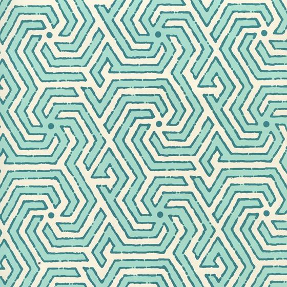 2520 01owp Maze Reverse Two Colors Turquoise Dark Turquoise Quadrille Wallpaper