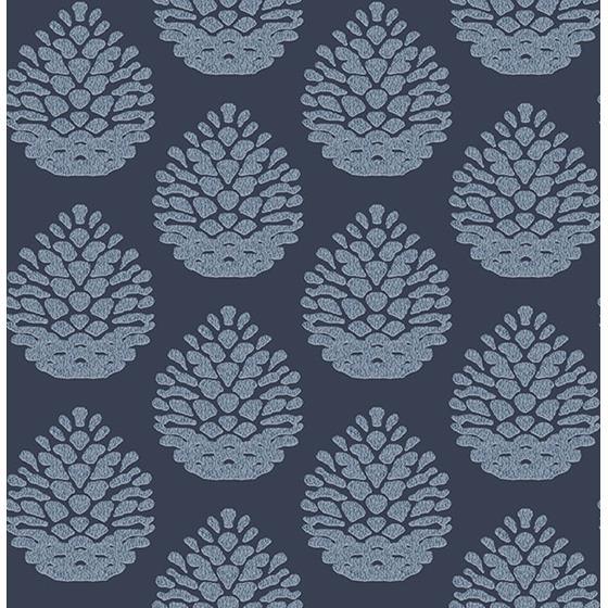 3118-25092 Birch and Sparrow Totem Pinecone by Chesapeake Wallpaper