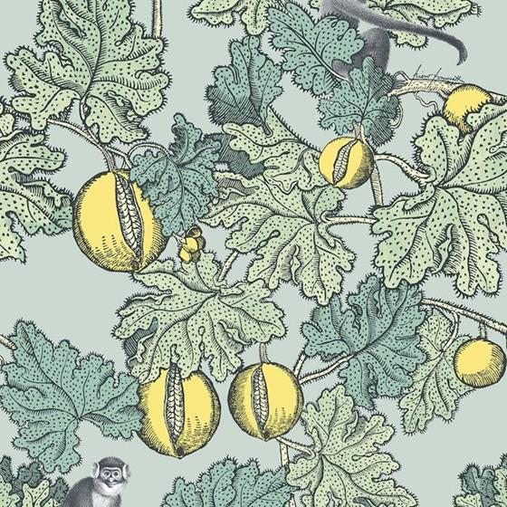 114-1002 Frutto Proibito, Seafoam and Lemon Print