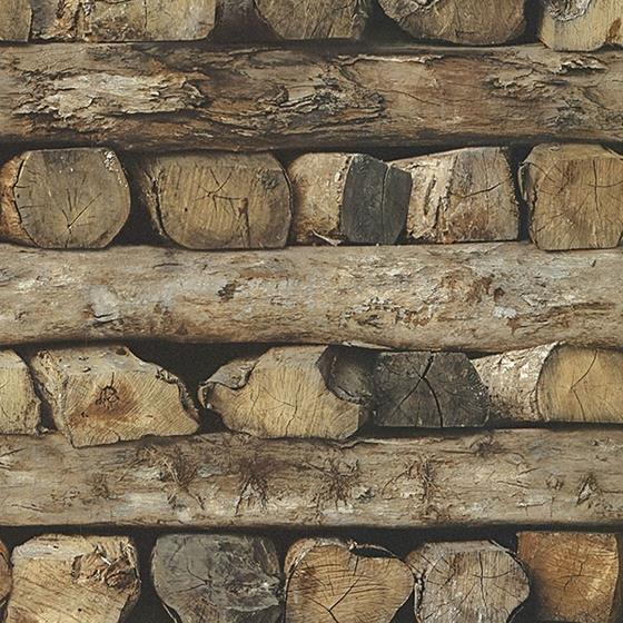 2774-931808 Stones and Woods Bighorn Brown Logs by Advantage Wallpaper