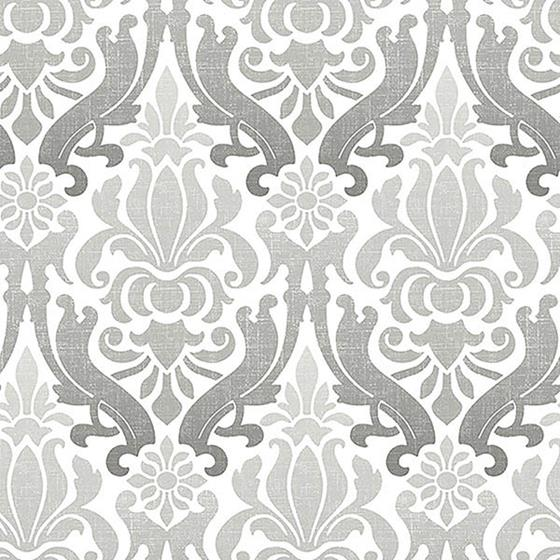 NU1827 Grey Nouveau Damask Peel And Stick Wallpape