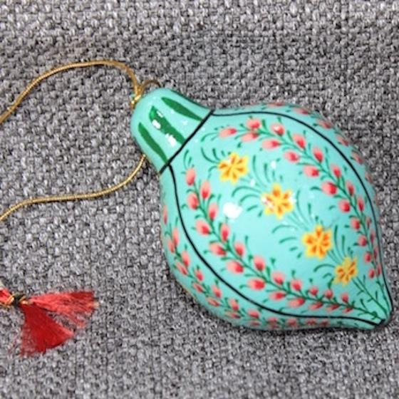 XM3693A Blue Floral Paper Mache Ornament