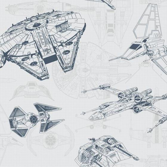 DY0306 Star Wars Ship Schematic by York Wallcoveri