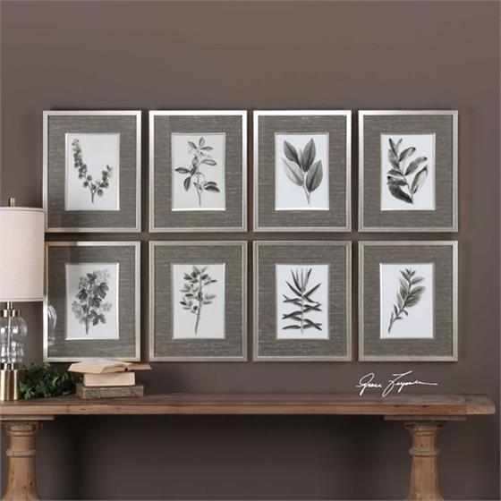 33658 Sepia Gray Leaves S/8 by Uttermost