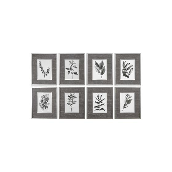 33658 Sepia Gray Leaves S/8 by Uttermost-3