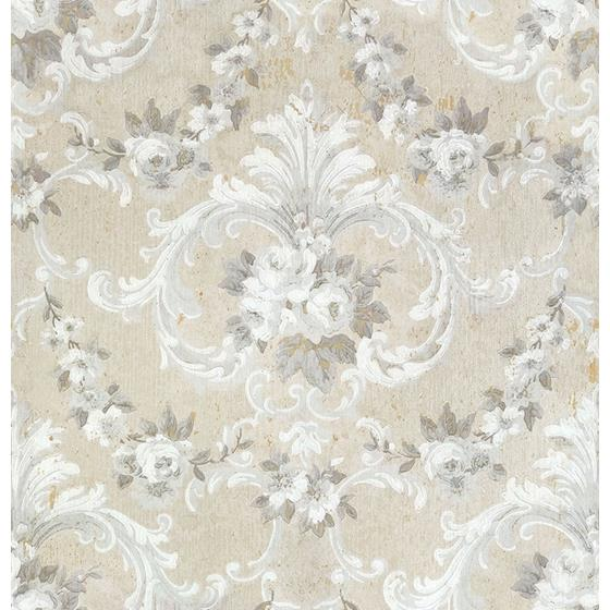 AST4064 Zio and Sons This Old Hudson Natural Neutral Rose Damask by A-Street Prints Wallpaper