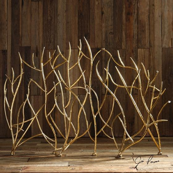 18796 Uttermost Gold Branches Decorative Fireplace Screen by Uttermost