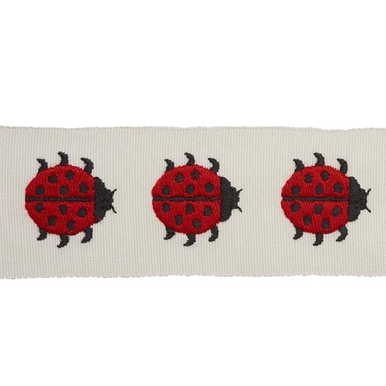 77390 Ladybird Tape Red and Ivory by Schumacher Fabric