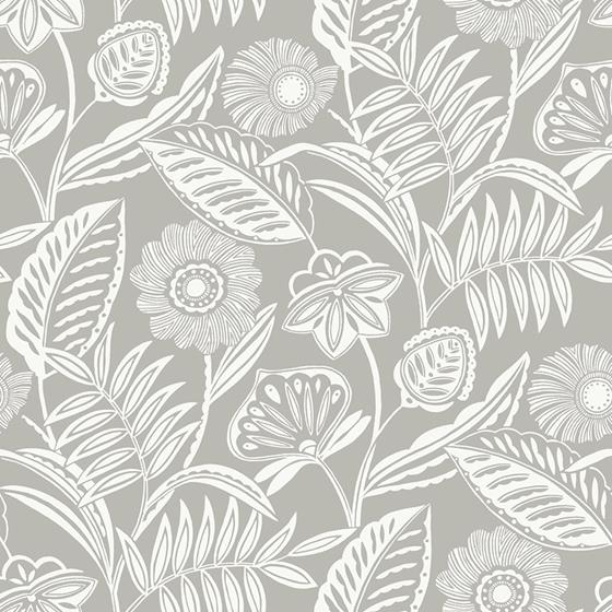 2969-87531 Pacifica Alma Light Grey Tropical Floral Greyby A-Street Prints Wallpaper
