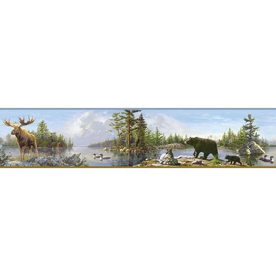 3118-48541B Birch and Sparrow Moose Lake Forest by Chesapeake Wallpaper