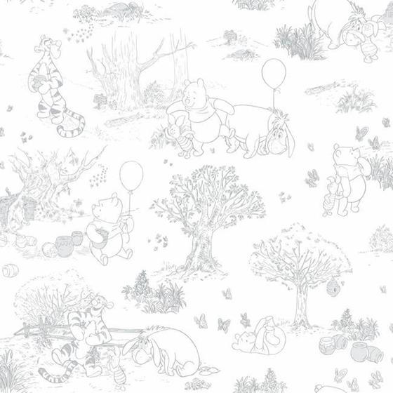 DY0224 Pooh and Friends Toile by York Wallcovering