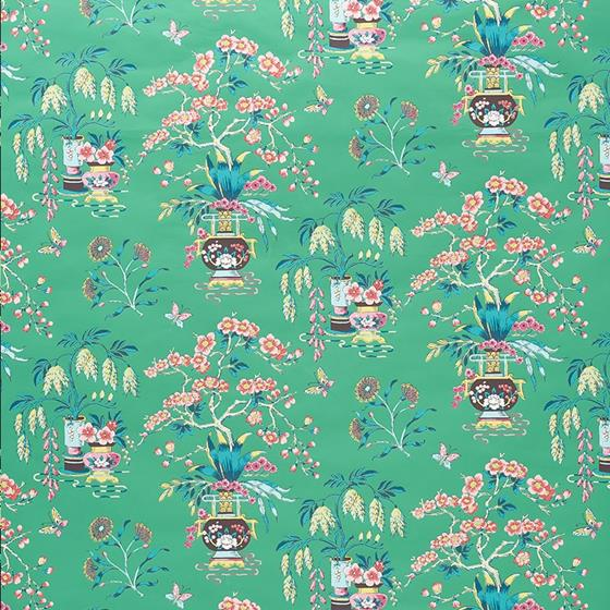 5009082 Ming Vase Jade by Schumacher Wallpaper