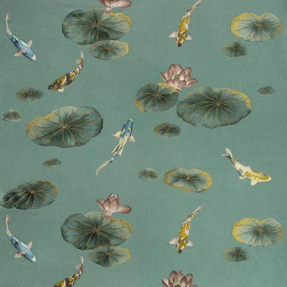 35460.35.0 Lotus Pond Sage Teal Multipurpose Asian Fabric by Kravet Couture