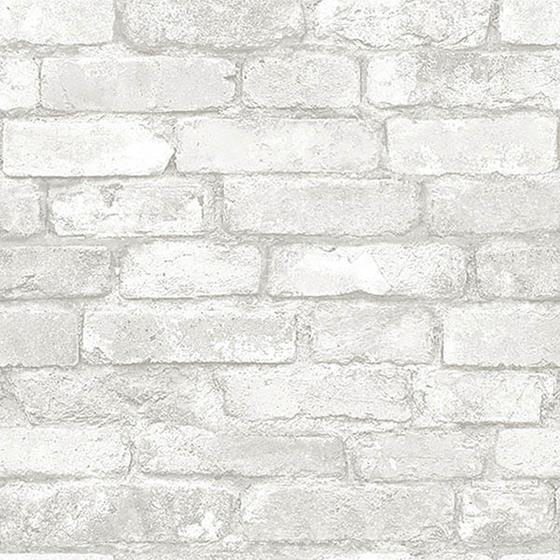 NU1653 Grey and White Brick Peel And Stick Wallpap