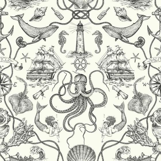 HO3360 Deep Sea Toile, Tailored by York Wallpaper