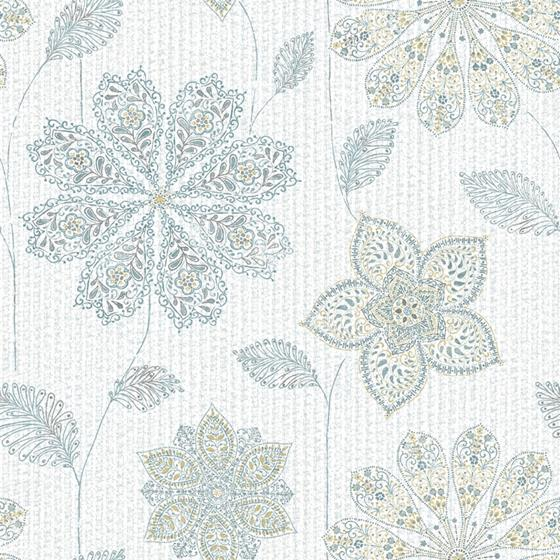 NU1697 Gypsy Floral Blue/Green Flowers Peel and Stick Wallpaper