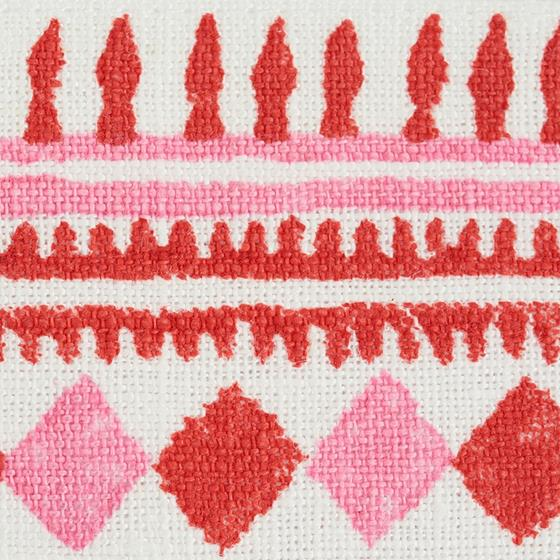 77331 Toula Hand Blocked Linen Tape Red and Pink by Schumacher Fabric3
