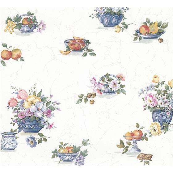 2813-24989 Kitchen Puck Multicolor Fruit Basket by Advantage Wallpaper