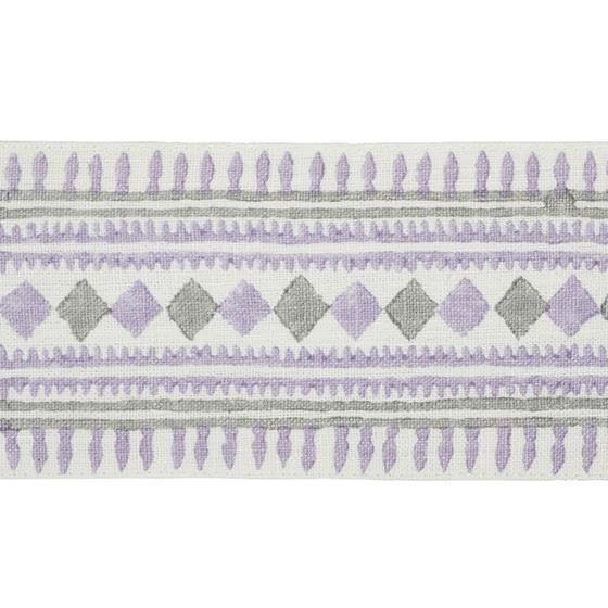 77332 Toula Hand Blocked Linen Tape Lilac and Grey by Schumacher Fabric